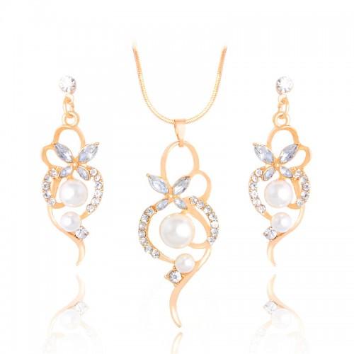 Set cristale , perle placat aur 18k